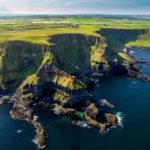 Green cliffs on the coast