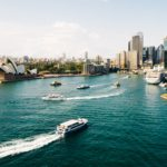 View over sydney harbour with boats and buildings